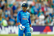 India ODI wicket keeper MS Dhoni is out off the bowling of England ODI all rounder David Willey  during the 3rd Royal London ODI match between England and India at Headingley Stadium, Headingley, United Kingdom on 17 July 2018. Picture by Simon Davies.