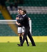 4th April 2018, Celtic Park, Glasgow, Scotland; Scottish Premier League football, Celtic versus Dundee; Dundee manager Neil McCann with Lewis Spence at the end