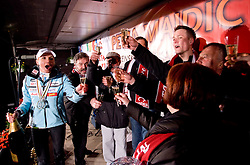 Slovenian athlete Petra Majdic  opens a champaign and celebrates with her family at her home town when she arrived home with small cristal globus at the end of the nordic season 2008/2009, on March 24, 2009, in Dol pri Ljubljani, Slovenia. (Photo by Vid Ponikvar / Sportida)