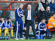 Brentford Manager Mark Warburton with assistant David Weir during the Sky Bet League 1 match at the Matchroom Stadium, London<br /> Picture by Mark D Fuller/Focus Images Ltd +44 7774 216216<br /> 15/03/2014