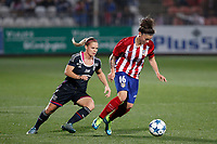 Atletico de Madrid´s Maria Leon and Olympique Lyonnais´s Le Sommer during UEFA Women´s Champions League soccer match between Atletico de Madrid and Olympique Lyonnais, in Madrid, Spain. November 11, 2015. (ALTERPHOTOS/Victor Blanco)