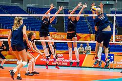 18-10-2018 JPN: World Championship Volleyball Women day 19, Yokohama<br /> Training day Netherlands in Yokohama Arena / Lonneke Sloetjes #10 of Netherlands, Juliet Lohuis #7 of Netherlands, Coach Jamie Morrison of Netherlands