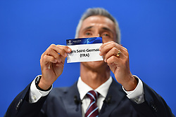 NYON, SWITZERLAND - Friday, July 10, 2020: Former Juventus and Borussia Dortmund player Paulo Sousa draws out the card of Paris Saint-Germain during the UEFA Champions League and UEFA Europa League 2019/20 draws for the Quarter-final, Semi-final and Final at the UEFA headquarters, The House of European Football. (Photo Handout/UEFA)