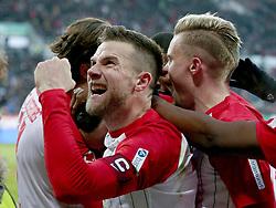 04.02.2018, WWK Arena, Augsburg, GER, 1. FBL, FC Augsburg vs Eintracht Frankfurt, 21. Runde, im Bild Daniel Baier (FC Augsburg #10) Jubel nach dem 3:0 von Marco Richter (FC Augsburg #23) // during the German Bundesliga 21th round match between FC Augsburg and Eintracht Frankfurt at the WWK Arena in Augsburg, Germany on 2018/02/04. EXPA Pictures © 2018, PhotoCredit: EXPA/ Eibner-Pressefoto/ Harry Langer<br /> <br /> *****ATTENTION - OUT of GER*****