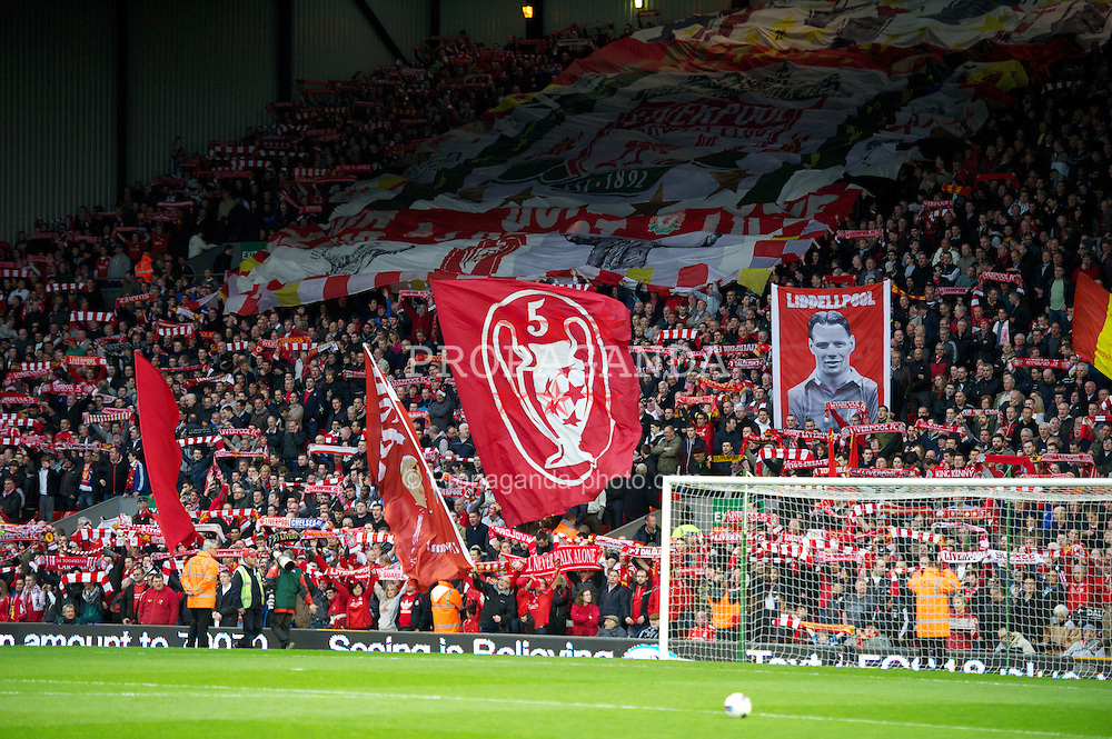 LIVERPOOL, ENGLAND - Tuesday, May 8, 2012: Liverpool supporters on the Spion Kop during the final home Premiership match of the season against Chelsea at Anfield. (Pic by David Rawcliffe/Propaganda)