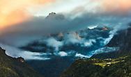High peak on Madeira island often hidden behind the clouds