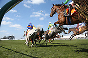 The runners stream over the first fence in The Class 2 J & D Pierce Novices Champion Handicap Steeplechase over 3m (£100,000)  during the Scottish Grand National race day at Ayr Racecourse, Ayr, Scotland on 13 April 2019.