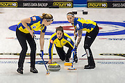 Glasgow. SCOTLAND. Sweden, playing in the second day of the Round Robin games at the  Le Gruyère European Curling Championships. 2016 Venue, Braehead  Scotland<br /> Sunday  20/11/2016<br /> <br /> [Mandatory Credit; Peter Spurrier/Intersport-images]