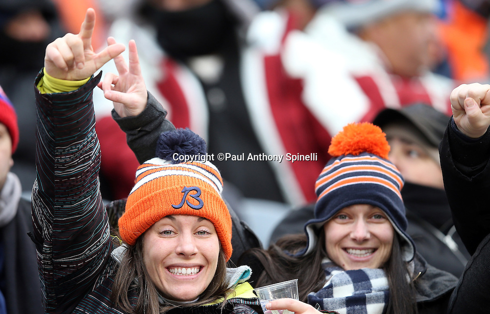 Chicago Bears fans cheer and point during the Chicago Bears NFL week 17 regular season football game against the Detroit Lions on Sunday, Jan. 3, 2016 in Chicago. The Lions won the game 24-20. (©Paul Anthony Spinelli)