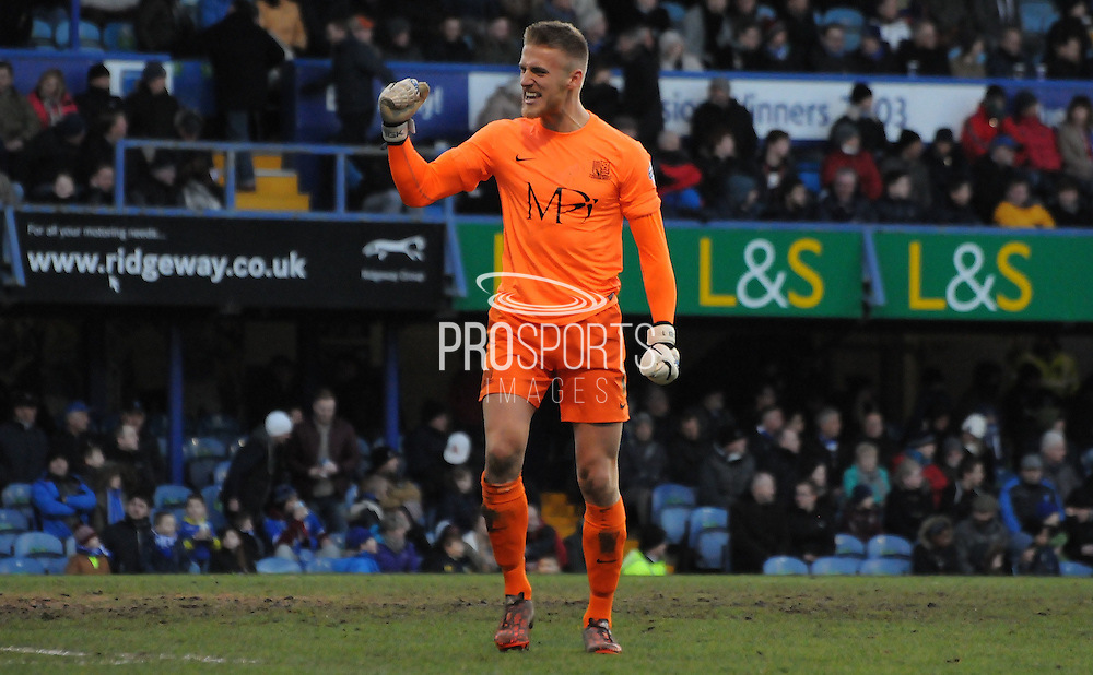 Daniel Bentley celebrates Southend's second during the Sky Bet League 2 match between Portsmouth and Southend United at Fratton Park, Portsmouth, England on 24 January 2015. Photo by Michael Hulf.
