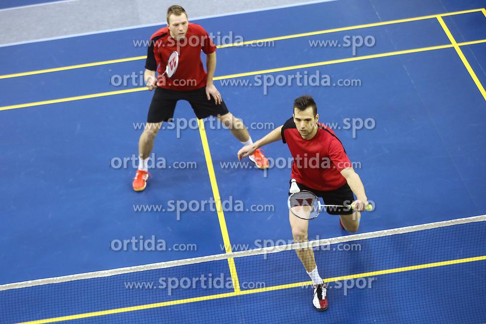 Iztok Utrosa and Miha Horvat (BK Mladost) during 58th Slovenian national championship in badminton on Februar 1, 2015 in Zg. Kungota, Slovenia. (Photo By Grega Valancic / Sportida)