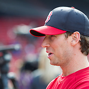 Craig Breslow #32 of the Boston Red Sox speaks in an exclusive interview with Times of Israel reporter, Matt Lebovic (not pictured) during Fenway Park's Jewish Heritage Night at the game between the Atlanta Braves and the Boston Red Sox at Fenway Park on May 29, 2014 in Boston, Massachusetts. (Photo by Elan Kawesch)