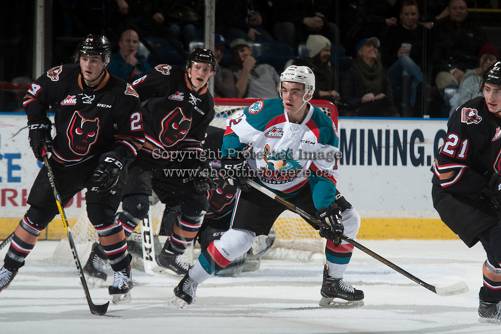 KELOWNA, CANADA - FEBRUARY 1: Erik Gardiner #12 of the Kelowna Rockets looks of the pass against the Calgary Hitmen on February 1, 2017 at Prospera Place in Kelowna, British Columbia, Canada.  (Photo by Marissa Baecker/Shoot the Breeze)  *** Local Caption ***
