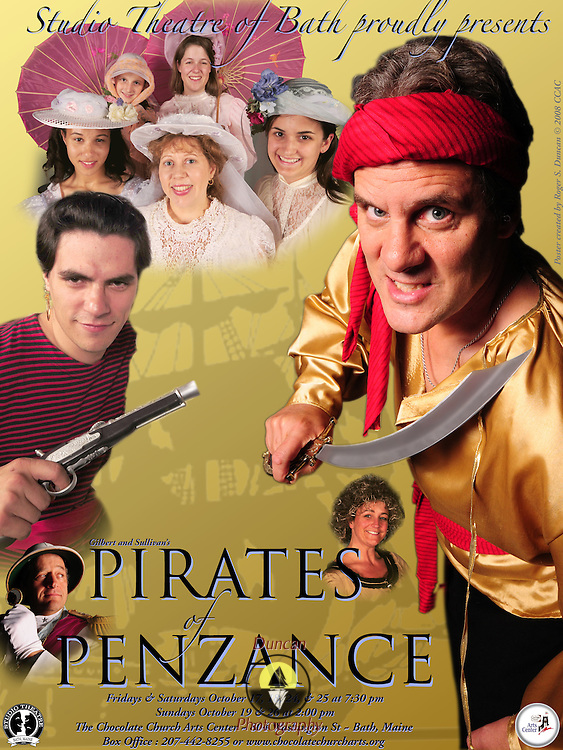 Design for Chocolate Church Arts Center Pirates of Penzance show by Studio Theatre of Bath