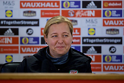 CARDIFF, WALES - Thursday, November 23, 2017: Wales' manager Jayne Ludlow during a press conference ahead of the FIFA Women's World Cup 2019 Qualifying Round Group 1 match between Wales and Kazakhstan at the Cardiff City Stadium. (Pic by David Rawcliffe/Propaganda)
