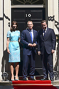 © Licensed to London News Pictures. 24/07/2012. Westminster, UK SAMANTHA CAMERON, TONY BLAIR, DAVID CAMERON. The British Prime Minister David Cameron hosts a lunch today 24th July 2012 at Downing Street for HM The Queen and the Duke of Edinburgh with the Deputy Prime Minister and past Prime Ministers, Sir John Major, Tony Blair and Gordon Brown. Photo credit : Stephen Simpson/LNP