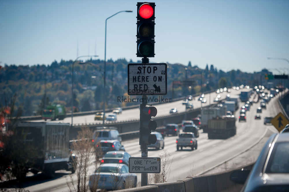 2016 October 11 - Onramp to I-5 and ship canal bridge, Seattle, WA, USA. By Richard Walker