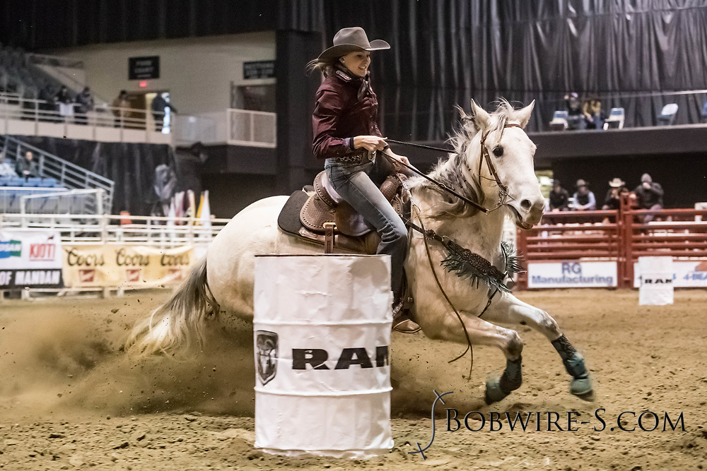 Barrel racer Alyssa Lockhart makes her run during slack at the Bismarck Rodeo on Saturday, Feb. 3, 2018. She had a time of 13.47 seconds. This photo and more from most runs are available at Bobwire-S.com.