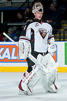 KELOWNA, CANADA - MARCH 15: Payton Lee #1 of the Vancouver Giants skates to the net against the Kelowna Rockets on March 15, 2014 at Prospera Place in Kelowna, British Columbia, Canada.   (Photo by Marissa Baecker/Getty Images)  *** Local Caption *** Payton Lee;