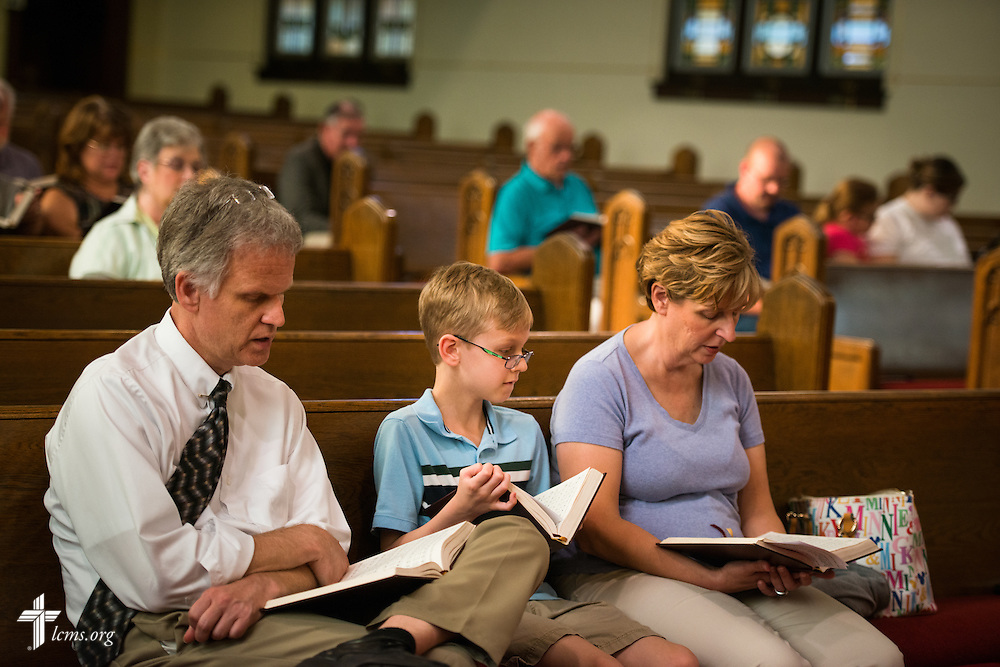 Parishioners sing together at Trinity Lutheran Church on Wednesday, July 15, 2015, in Danville, Ill. LCMS Communications/Erik M. Lunsford
