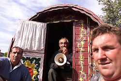 Gypsies protest in Horsmonden, because their fair has been stopped by the local council. The fair has been held for years and this is the first year that it has been cancelled. Jake Bower-Burbridge leading the protest, September 10, 2000.Photo by Andrew Parsons/i-Images.