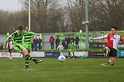 Forest Green Rovers Charlie Cooper(20) shoots at goal during the Vanarama National League match between Forest Green Rovers and Woking at the New Lawn, Forest Green, United Kingdom on 25 February 2017. Photo by Shane Healey.