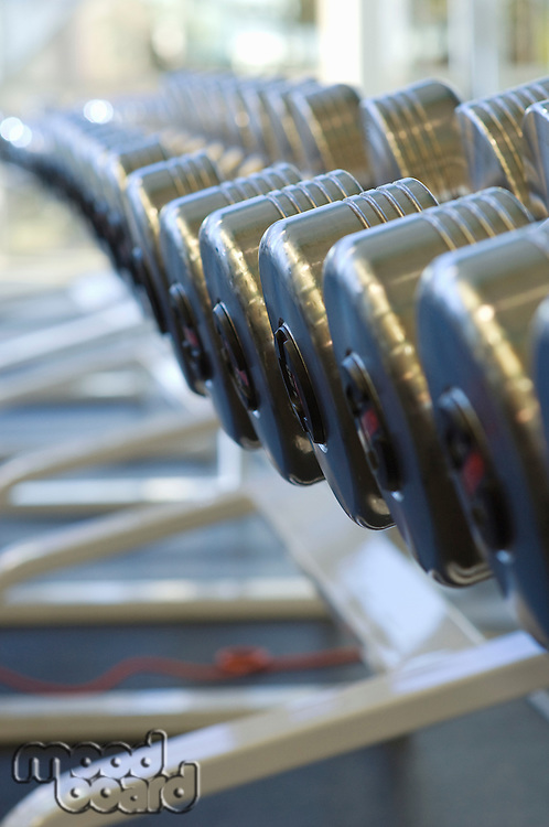 Dumbbells on Rack at Gym