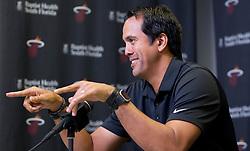 September 25, 2017 - Miami, Florida, U.S. - Miami Heat head coach Erik Spoelstra speaks at Media Day at AmericanAirlines Arena in Miami, Florida on September 25, 2017. (Credit Image: © Allen Eyestone/The Palm Beach Post via ZUMA Wire)