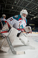 KELOWNA, CANADA - APRIL 14: Brodan Salmond #31 of the Kelowna Rockets warms up on the ice against the Portland Winterhawks on April 14, 2017 at Prospera Place in Kelowna, British Columbia, Canada.  (Photo by Marissa Baecker/Shoot the Breeze)  *** Local Caption ***