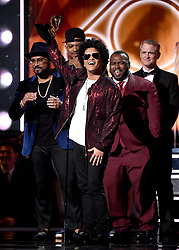 """NEW YORK - JANUARY 28: Bruno Mars accepts the award for """"Album of the Year"""" on the 60th Annual Grammy Awards at Madison Square Garden on January 28, 2018 in New York City. (Photo by Frank Micelotta/PictureGroup)"""