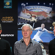February 28, 2014, Palm Springs, California: <br /> Tournament owner Larry Ellison, John McEnroe, and Jim Courier stand on stage during the McEnroe Challenge for Charity VIP Draw Ceremony in the newly constructed Stadium 2 at the Indian Wells Tennis Garden. <br /> (Photo by Billie Weiss/BNP Paribas Open)