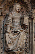 Statue of Justice on the tomb of the Cardinals of Amboise, 1515-25, by Roullant Le Roux and Pierre des Aubeaux in Renaissance style, in Rouen Cathedral or the Cathedrale de Notre Dame de Rouen, built 12th century in Gothic style, with work continuing through the 13th and 14th centuries, Rouen, Normandy, France. The tomb has 2 praying figures of Cardinal Georges d'Amboise, died 1510, archbishop of Rouen, and his nephew Georges II d'Amboise, died 1550, also archbishop and cardinal. Below are 6 statues representing faith, charity, prudence, power, justice and temperance. Picture by Manuel Cohen