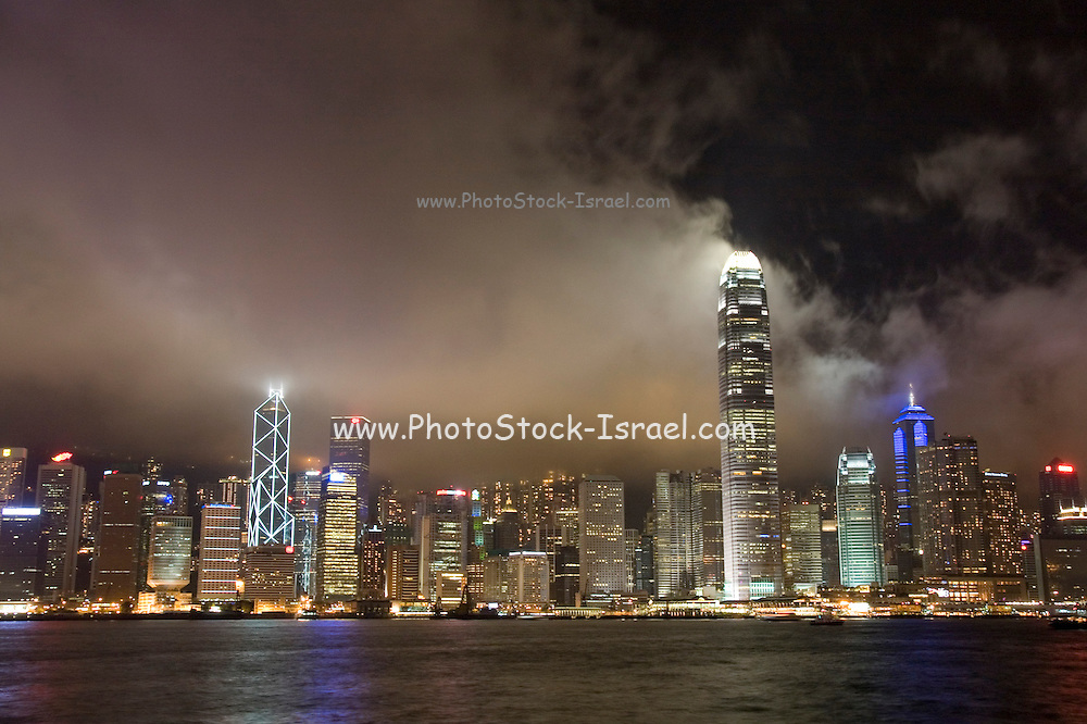 Asia, Southeast, People's Republic of China, Hong Kong, Night view of the  Hong Kong skyline as seen from Kowloon peninsula (Tsim Sha Tsui).