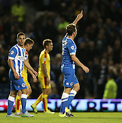 Brighton central midfielder, Dale Stephens scores to make it2-0 during the Sky Bet Championship match between Brighton and Hove Albion and Rotherham United at the American Express Community Stadium, Brighton and Hove, England on 15 September 2015.