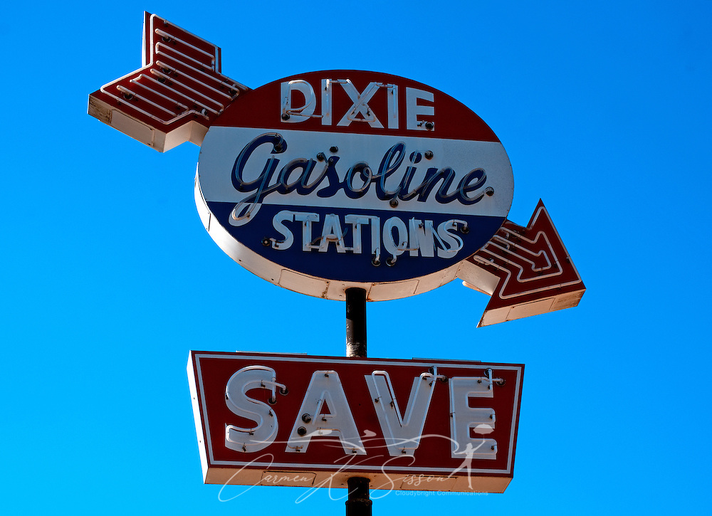 A Dixie Gasoline sign advertises a long-closed business on Fifth Street in Meridian, Mississippi. (Photo by Carmen K. Sisson/Cloudybright)