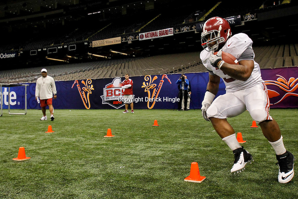 January 5, 2012; New Orleans, LA, USA; Alabama Crimson Tide running back Trent Richardson (3) during a team practice for the 2012 BCS National Championship game to be played on January 9, 2012 against the LSU Tigers at the Mercedes-Benz Superdome.  Mandatory Credit: Derick E. Hingle-US PRESSWIRE