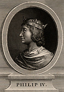 Philip IV, the Fair (1268-1314) a member of the Capetian dynasty,  king of France from 1285. He forced  Pope Clement V to dissolve the Knights Templar, and appropriated their property (1314). Copperplate engraving, 1793.