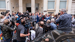 © Licensed to London News Pictures. 14/08/2018. Bristol, UK. A statement being read to media as BEN STOKES and his wife CLARE RATCLIFFE leave Bristol Crown court today after he is acquitted by a jury on charges of affray that relate to a fight outside a Bristol nightclub on September 25 2017. England cricketer Ben Stokes and Ryan Ali, 28,  who was also acquitted denied the charge. Stokes and Ali were charged with affray in the Clifton Triangle area of Bristol on September 25 last year, several hours after England had played a one-day international against the West Indies in the city. Ali allegedly suffered a fractured eye socket in the incident. Photo credit: Simon Chapman/LNP