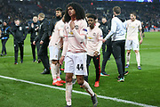 Manchester United Forward Tahith Chong celebrates during the Champions League Round of 16 2nd leg match between Paris Saint-Germain and Manchester United at Parc des Princes, Paris, France on 6 March 2019.