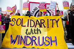 © Licensed to London News Pictures. 30/04/2018. London, UK. Protesters gather in Parliament Square to demonstrate about the ongoing Windrush migrant scandal. Photo credit: Rob Pinney/LNP
