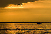 A Sailboat enjoying a calm evening on the Saginaw Bay