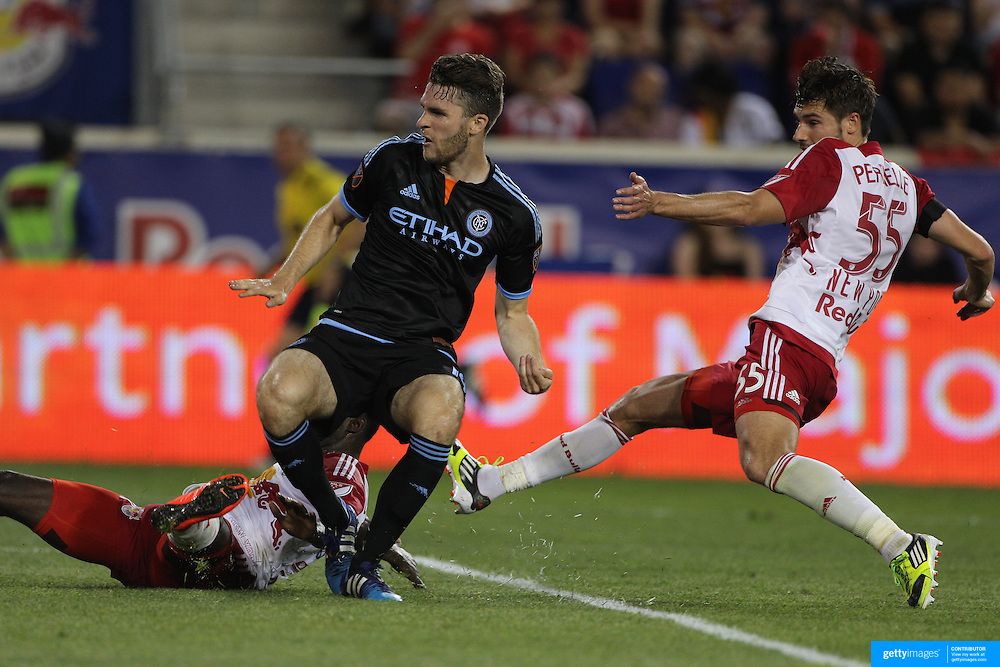 Patrick Mullins, NYCFC, scores for his side during the New York Red Bulls Vs NYCFC, MLS regular season match at Red Bull Arena, Harrison, New Jersey. USA. 10th May 2015. Photo Tim Clayton