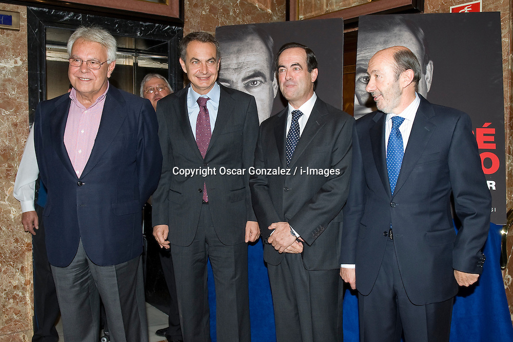 Felipe Gonzalez, Jose Luis Rodriguez Zapatero, Alfredo Perez Rubalcaba and Jose Bono attend the presentation of the book 'Les voy a contar', the first of three volumes written by the former Minister of Defense Jose Bono which he began writing when leaving active politics after the defeat of the Socialist Party in November 2011, Madrid, Spain, October 4, 2012. Photo by Oscar Gonzalez / i-Images..SPAIN OUT