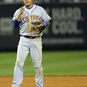 Ruben Tejada, New York Mets, reacts after completing a double play during the New York Yankees V New York Mets, Subway Series game at Yankee Stadium, The Bronx, New York. 12th May 2014. Photo Tim Clayton