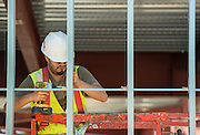 Construction crews work on the new Condit Elementary School, October 14, 2015.