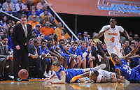 Mar 16, 2013; Knoxville, TN, USA; Kentucky Wildcats head coach John Calipari watches players scramble for a loose ball during the first half against the Tennessee Volunteers at Thompson-Boling Arena. Mandatory Credit: Randy Sartin-USA TODAY Sports