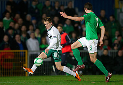 Valter Birsa of Slovenia vs Jonathan Evans of Northern Ireland during EURO 2012 Quaifications game between National teams of Slovenia and Northern Ireland, on March 29, 2011, in Windsor Park Stadium, Belfast, Northern Ireland, United Kingdom. (Photo by Vid Ponikvar / Sportida)