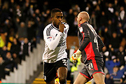 Fulham defender Ryan Sessegnon (3) celebrates his goal (score 1-0) during the EFL Sky Bet Championship match between Fulham and Wolverhampton Wanderers at Craven Cottage, London, England on 24 February 2018. Picture by Andy Walter.