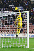 Dean Henderson tips the ball over the net during the EFL Sky Bet League 1 match between Wigan Athletic and Shrewsbury Town at the DW Stadium, Wigan, England on 26 December 2017. Photo by George Franks.