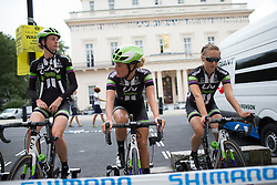 Floortje Mackaaij (NED) (middle) and Leah Kirchmann (CAN) (right) of Liv-Plantur Cycling Team warm up for the Prudential RideLondon Classique, a 66 km road race in London on July 30, 2016 in the United Kingdom.
